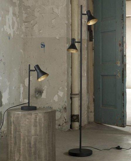 Zwarte metalen vloerlamp met twee kappen die aan de binnenzijde goudkleurig zijn, de lamp beschikt over een slanke poot en smalle ronde voet