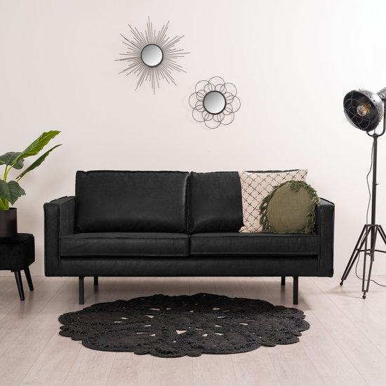 Zwarte rechthoekige 2,5 zitsbank gemaakt van eco leder met een totale lengte van 190 cm