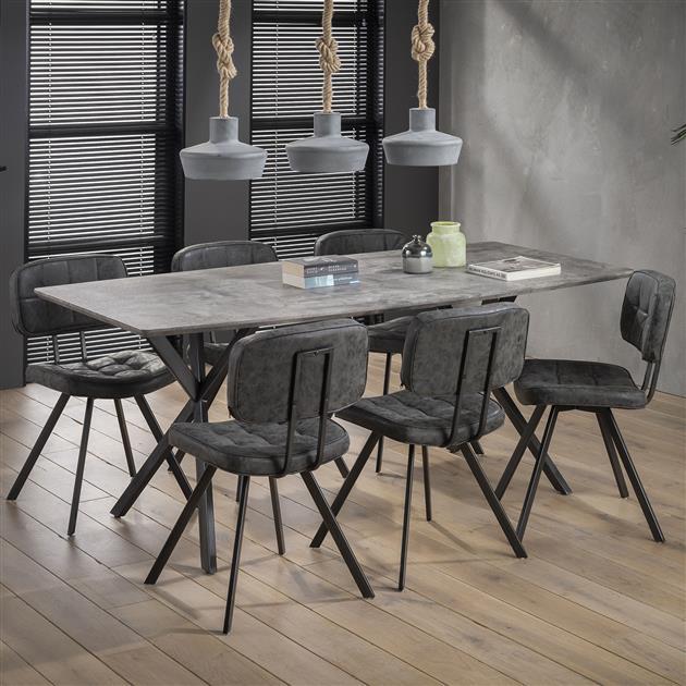 Rechthoekige eettafel met een blad gemaakt van MDF-platen en afgwerkt met een 3D eikenfolie met een antieke wash of 3D betonlook. De tafel is verkrijgbaar in verschillende formaten