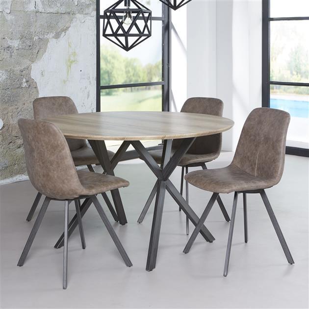 Ronde eettafel met een diameter van 120 cm. Het blad is gemaakt van MDF en is verkrijgbaar in een eiken antiquewash of betonloon grijs. Het frame is gemaakt van staal.