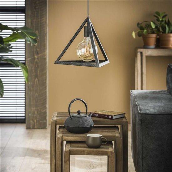 Detailfoto metalen hanglamp die is uitgevoerd in een vorm van een piramide met open armatuur